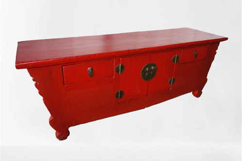 Long red buffet with two doors and two drawers