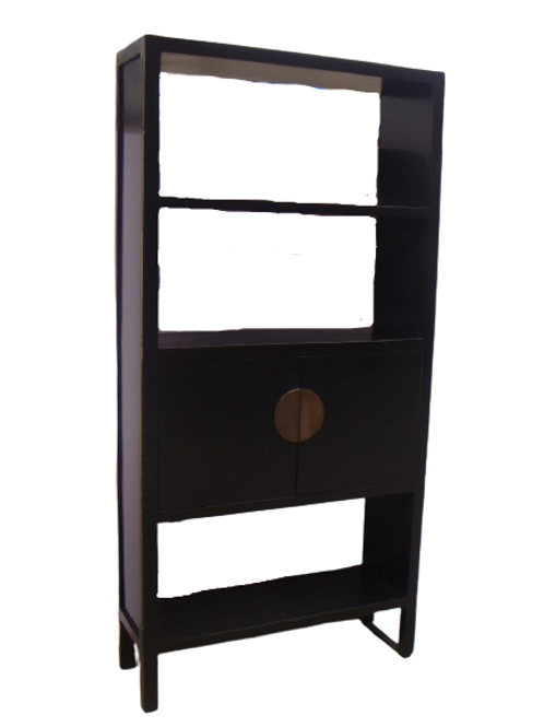 High display cabinet with shelves and 2 doors