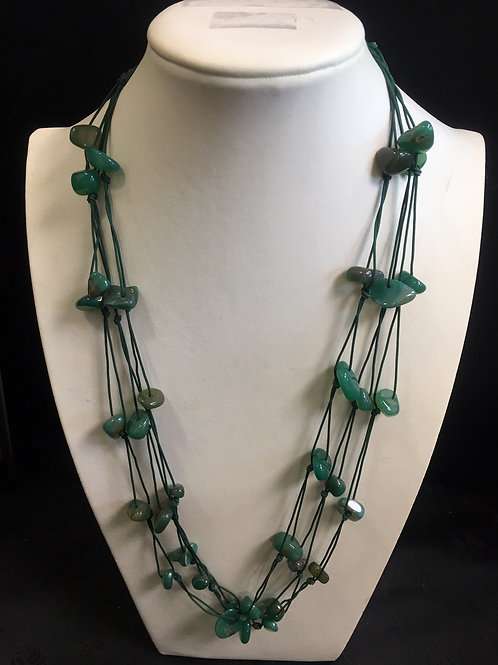 Unique handmade green agate, multiple string, necklace