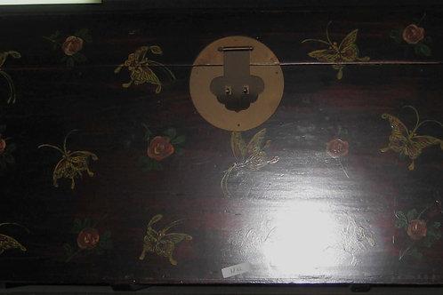 Butterfly print wooden trunk