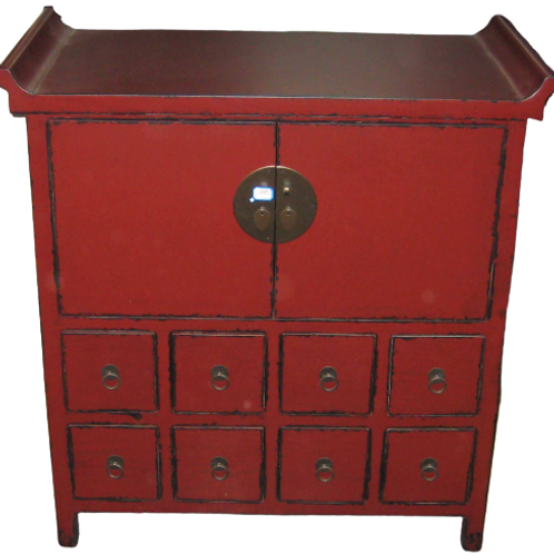 Cabinet with eight drawers and two doors