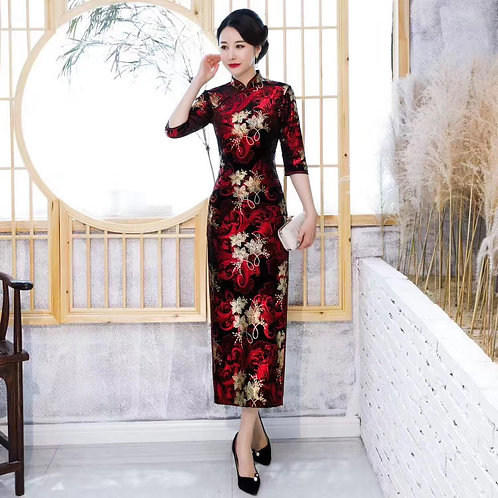 QiPao Dress - Black with red and gold flower pattern