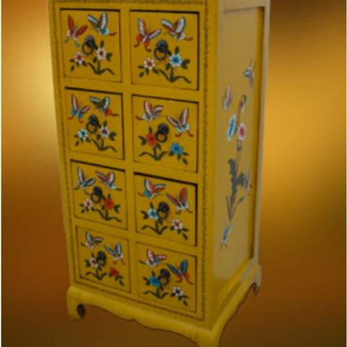 Beautiful handprinted yellow cabinet decorated with butterflies, 8 drawers