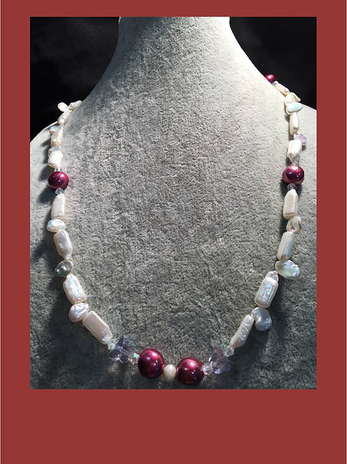 Handmade saltwater natural pearl necklace with a crystal bead