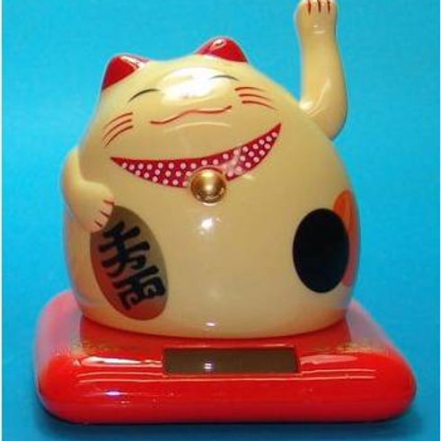 Smiling Lucky Cats, solar powered