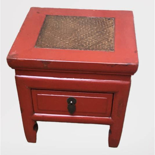 Elegant Rattan topped stool with one drawer