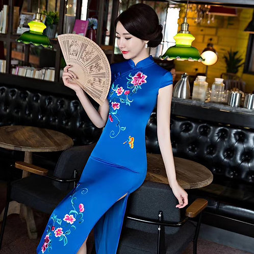 QiPao Dress - Blue with lotus pattern