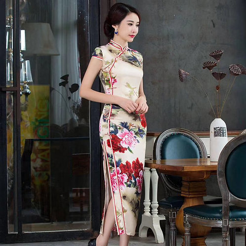 QiPao Dress - White with red blossoms