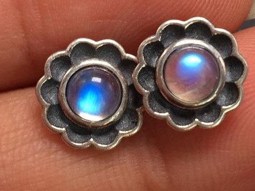 Moonstone, flower shaped earrings
