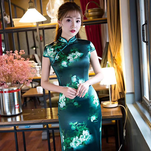 QiPao Dress - Green with white blossoms