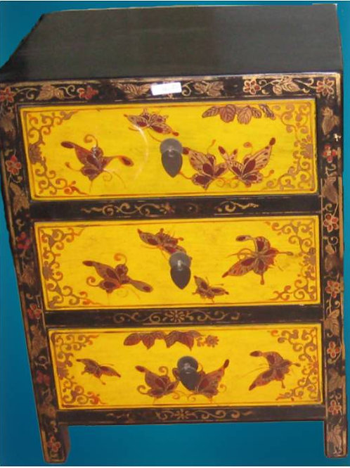 Handprinted cabinet, 3 drawers, with butterflies (various colours)