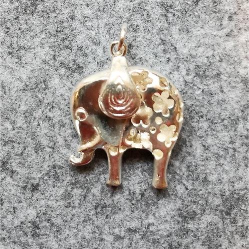 Handmade Silver Good luck, long life Elephant pendant (950 S purity)