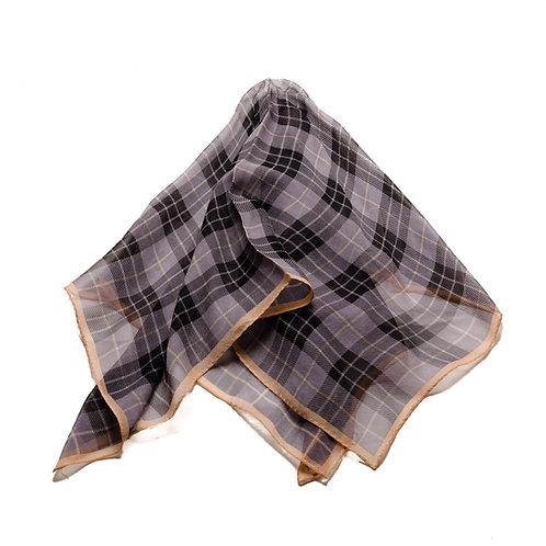 Silk scarf / pocket handkerchief - Transparent grey / black checked caramel edge