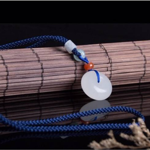 High quality natural white jade necklace