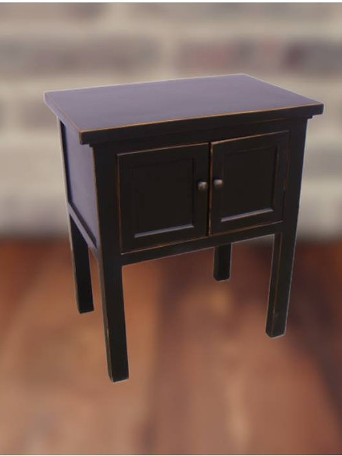Cabinet with two doors and copper handles