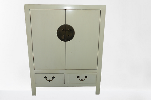 White cabinet with doors, drawers and copper lock
