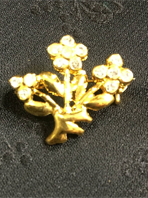 Goldplated Brooch displaying three flowers