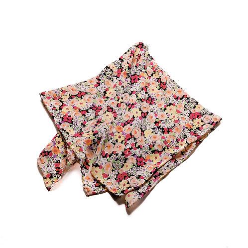 Silk scarf / pocket handkerchief - Black with white, cream, peach, pink flowers