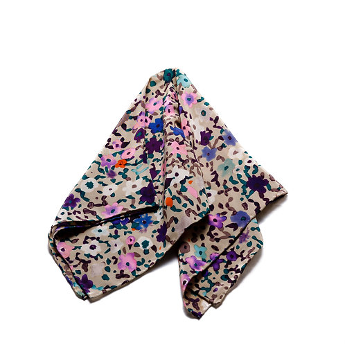 Silk scarf / pocket handkerchief - Grey, purple, yellow