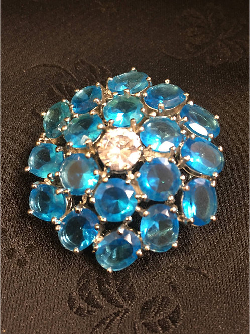 Silverplated Blue crystal flower
