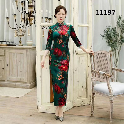 QiPao dresses with red, blue and yellow flower pattern