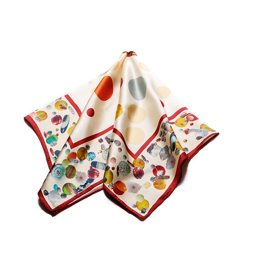 Silk scarf / pocket handkerchief - Cream with detailed forms