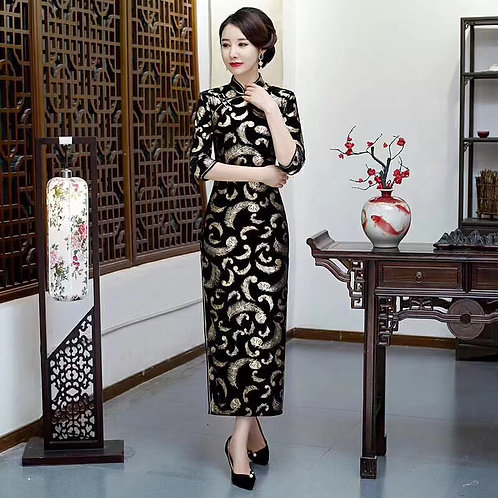 QiPao Dress - Black with feather pattern