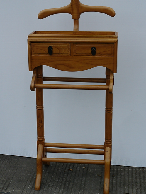 Elegant elm Valet stand with two drawers