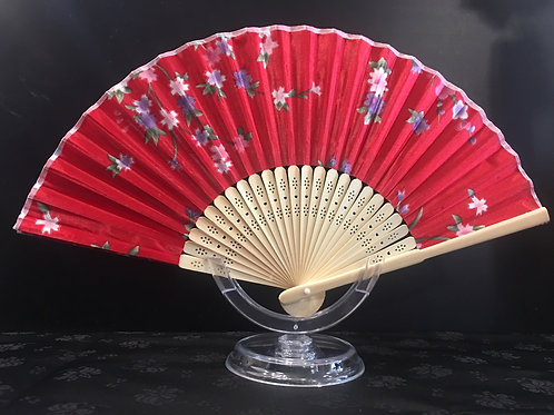 Fan - red with small colourful flowers
