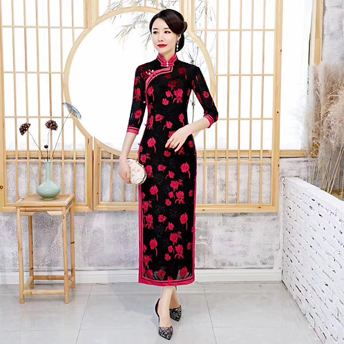 QiPao Dress - Black with pink roses and pearls near collar