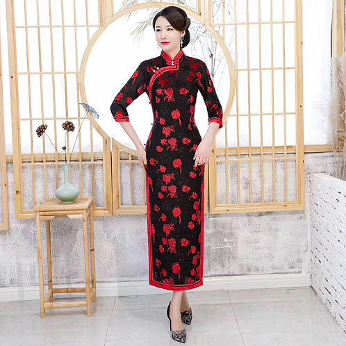 QiPao Dresses with flowers and pearls at collar