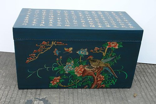 Hand printed trunk with pictures for bringing Luck (various colours)