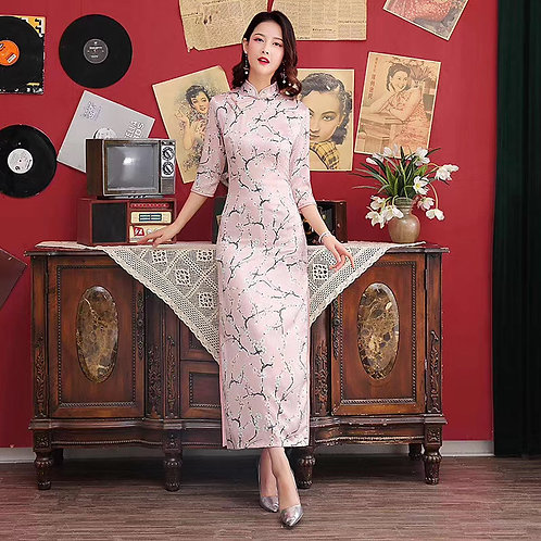 QiPao Dresses with cherry blossom pattern with mandarin collar