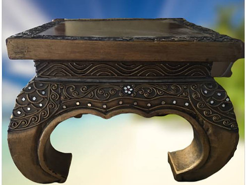 Opium style, beautifully carved, decorative birch stool