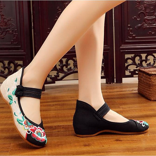Elegant two toned, embroidered shoe with low heel, double straps, lotus desig