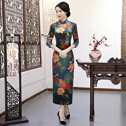 QiPao Dress - Emerald green with gold butterfly and flower