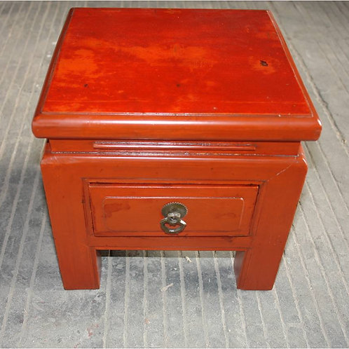 Red stained stool with one drawer