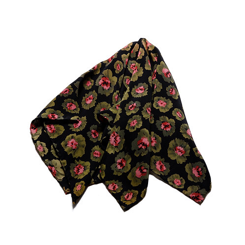 Silk scarf / pocket handkerchief - Black wth olive leaves and pink flowers