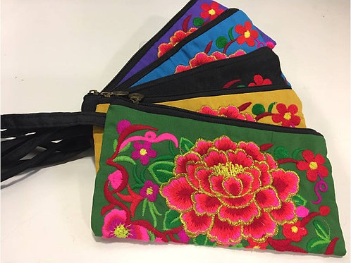 Embroidered cotton bag adorned with large lotus flower - various colours