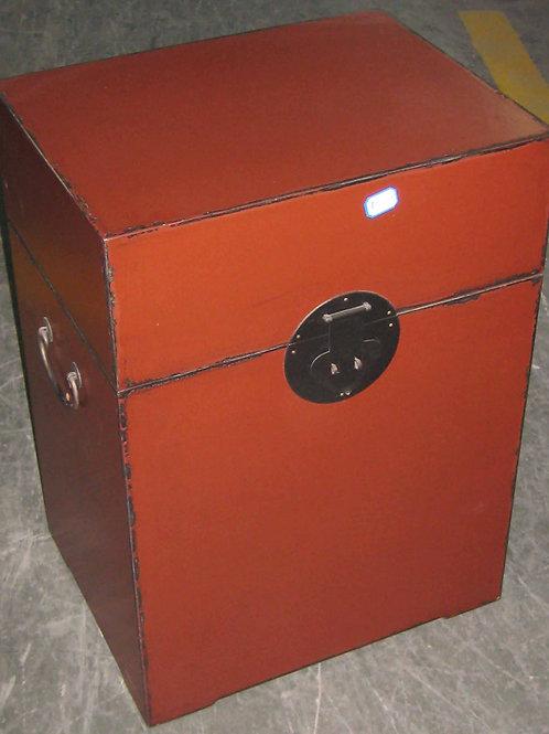 Orange-red wooden chest