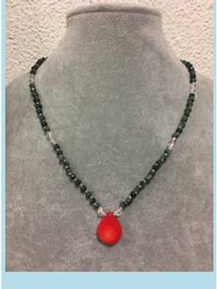 Emerald, red coral and crystal bead necklace