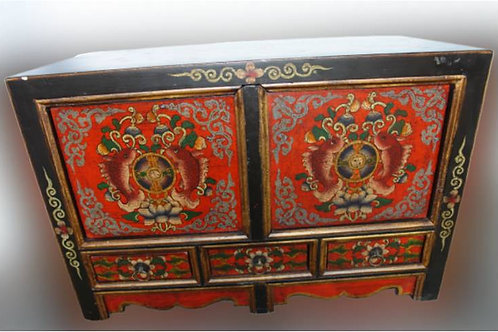 Intricately handprinted Tibetan Cabinet for bringing Luck, three drawers