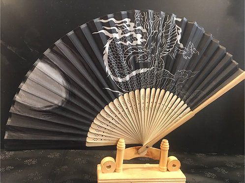 Fan - Black with Dragon