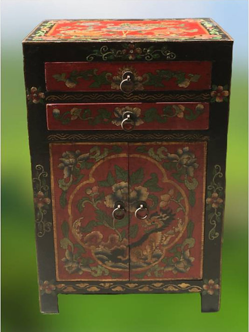 Handprinted cabinet with two doors and two drawers