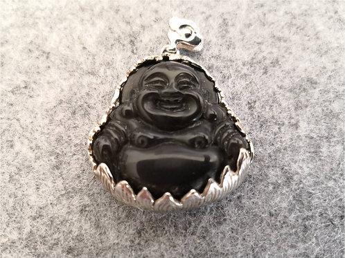 Laughing Buddha pendant, Black Onyx gemstone