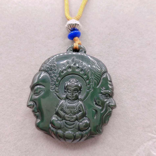 Handcarved three Buddha Obsidian necklace