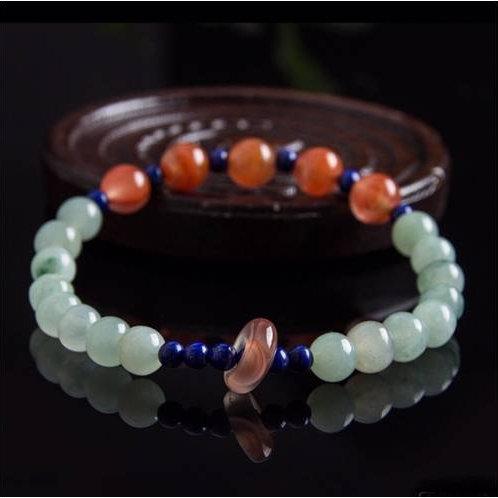 Handmade natural green Jade, red jade and Lapis Lazuli beaded bracelet