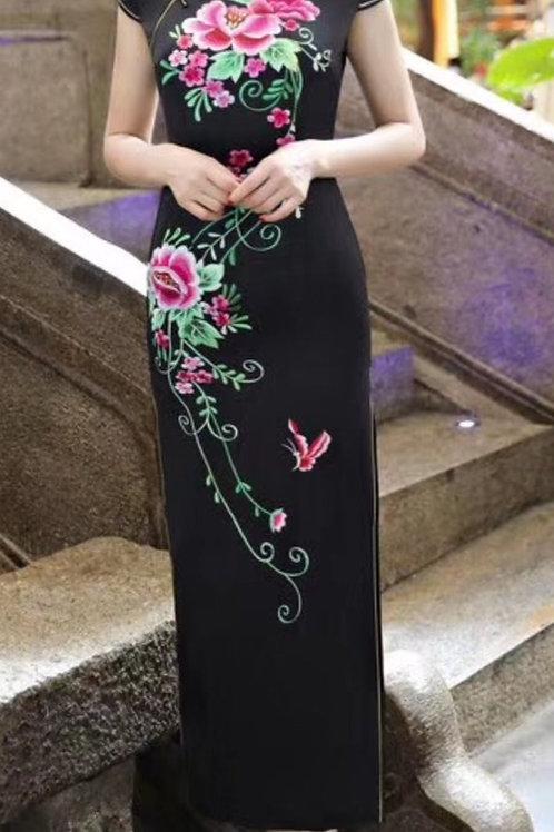 QiPao Dress - Black with pink lotus flower motif