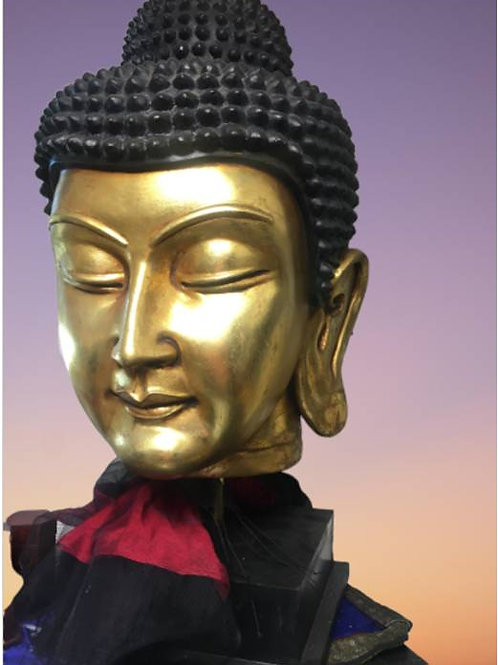 Goldplated wooden Buddha head