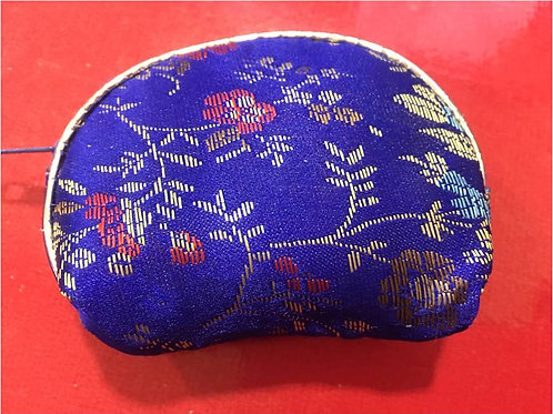 Embroidered silk purse with zip - various colours